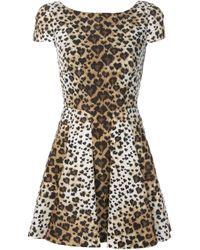 RED Valentino | Green Leopard Print Dress | Lyst