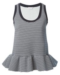 RED Valentino | Blue Striped Peplum Tank Top | Lyst