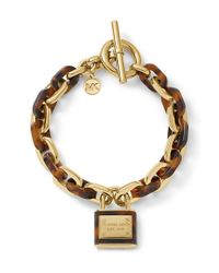 Michael Kors - Brown Gold Tone And Tortoise Link Bracelet With Pendant - Lyst