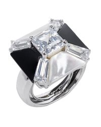 Kenneth Jay Lane | Black Agate Cz Geometric Ring | Lyst