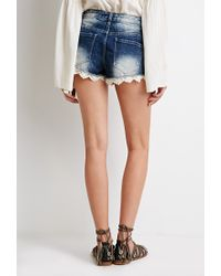 Forever 21 - Blue Lace-hemmed Denim Cutoffs - Lyst
