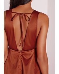 Missguided - Brown Silky Plunge Skater Dress Rust - Lyst