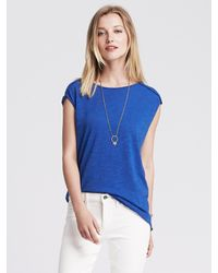 Banana Republic | Blue Cutout-back Drapey Top | Lyst