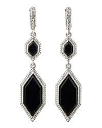 Judith Ripka - Black Modern Deco Double Drop Onyx Earrings - Lyst