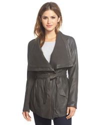 Elie Tahari | Black 'isabelle' Asymmetrical Knit Trim Leather Wrap Jacket | Lyst