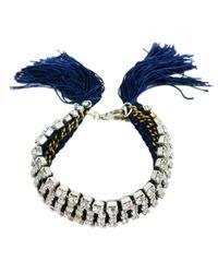 Alyssa Norton - Blue Hand Dyed & Braided Rhinestone Bracelet - Lyst