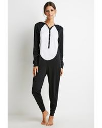 baeaa3441e06 Forever 21 Panda Graphic Pj Jumpsuit in Black - Lyst