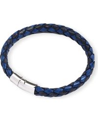 Tateossian | Blue Braided Leather Bracelet - For Men | Lyst