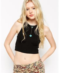 ASOS - Blue Choker Lariat Necklace With Semi Precious - Lyst