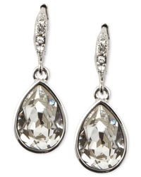 Givenchy - Metallic Silver-tone Crystal Teardrop Earrings - Lyst