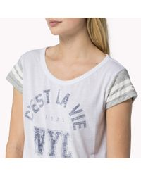 Tommy Hilfiger | White Blended Scoop Neck T-shirt | Lyst