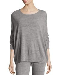 Natori | Gray Cosi Heathered Long-sleeve Top | Lyst