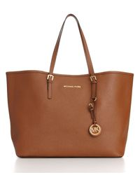 Michael Kors | Brown Michael Saffiano Medium Travel Tote | Lyst