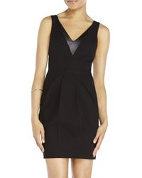 Rebecca Minkoff | Black Eli Leather Trim Dress | Lyst