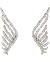Fallon - Metallic Pave Wing Earrings-colorless - Lyst