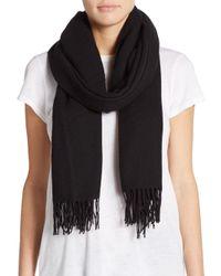 Saks Fifth Avenue   Black Blanket Fringe Wool-blend Scarf   Lyst