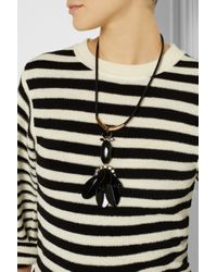 Marni - Gray Leather, Horn And Crystal Necklace - Lyst