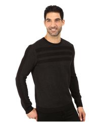 Calvin Klein | Black Cotton Acrylic Moss And Garter Stitch Crew Neck Sweater for Men | Lyst