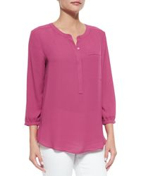 NYDJ - Purple Pleated-back Chiffon Blouse - Lyst
