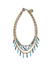 Giles & Brother - Multicolor Stone Fringe Multi Chain Necklace - Lyst