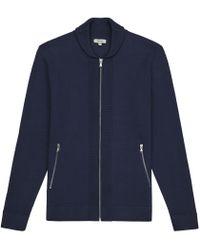 Reiss   Blue Jamison Shawl Collar Zip Cardigan for Men   Lyst