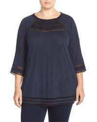 Lucky Brand - Blue Embroidered Yoke Top - Lyst