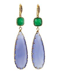 Indulgems | Crystal Blue Chalcedony Teardrop Earrings | Lyst