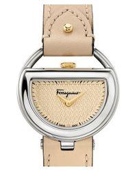 Ferragamo - Natural 'buckle' Leather Strap Watch - Lyst