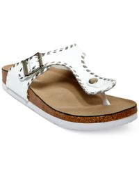 Madden Girl | White Booming Whipstich T-strap Footbed Sandals | Lyst