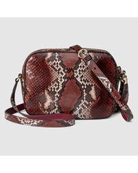 5e2cc4225955 Lyst - Gucci Soho Python Disco Bag in Purple