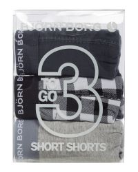 Björn Borg | Black 3 Pack Of Check And Solid Colour Trunks for Men | Lyst