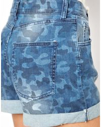 Just Female - Blue Camo Denim Shorts - Lyst