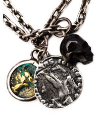 M. Cohen | Metallic Agate Skull Charm Necklace for Men | Lyst