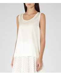 Reiss | Natural Kyan Silk-front Tank Top | Lyst