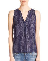 Joie | Blue Aruna Silk Python-print Sleeveless Blouse | Lyst