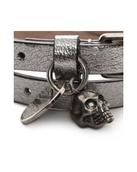 Alexander McQueen - Metallic Leather Double Wrap Skull Bracelet - Lyst