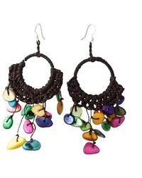 Aeravida | Metallic Multicolor Mop Chandelier Hoop Dangle Silver Earrings | Lyst