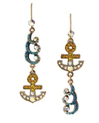 Betsey Johnson | Blue Ship Shape Anchor And Wave Earrings | Lyst