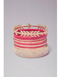 Bebe | Pink Enamel Crystal Bangle Set | Lyst