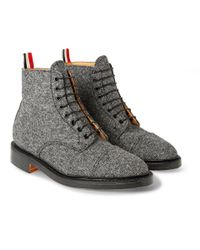 Thom Browne | Gray Gibson Wool-Tweed Derby Boots for Men | Lyst