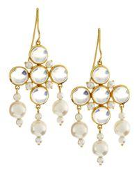 Assael - White Akoya Pearl Moonstone Chandelier Earrings - Lyst