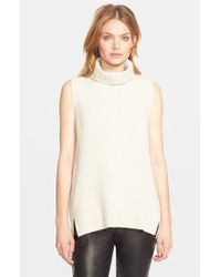 Vince - Natural Sleeveless Ribbed Wool Turtleneck - Lyst