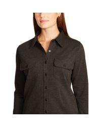 Ralph Lauren - Brown Ponte Long-sleeved Shirtdress - Lyst