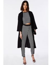 Missguided | Black Contrast Panel Dogtooth Crop Top | Lyst