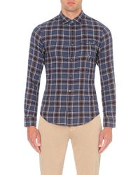 Armani Jeans - Blue Checked Cotton Shirt for Men - Lyst