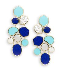 Ippolita - Blue Polished Rock Candy Lapis, Turquoise, Mother-of-pearl & 18k Yellow Gold Mosaic Earrings - Lyst