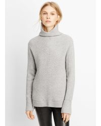 Vince - Gray Wool Cashmere Directional Rib Turtleneck Sweater - Lyst