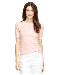 Brooks Brothers - Pink Silk And Cotton Jacquard Short-sleeve Shell - Lyst
