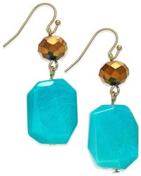 Macy's | Blue Lydell Gold-tone Turquoise Drop Earrings | Lyst
