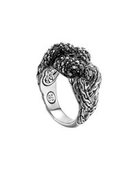 John Hardy - Metallic Classic Chain Silver Lava Large Braided Ring With Black Sapphire - Lyst